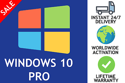 Genuine Microsoft Windows 10 Pro Professional 32/64 Bit + License Key
