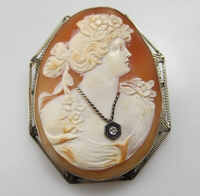 Large Gorgeous Antique Shell Cameo Pendant Pin Diamond Necklace 14K White Gold