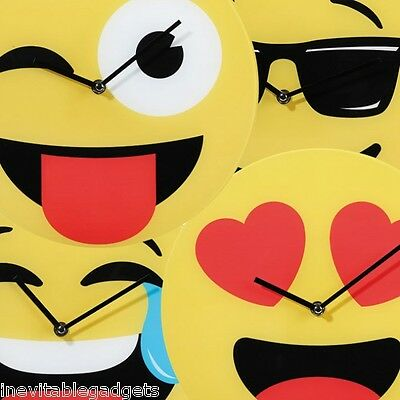 EMOJI GLASS WALL Clock Emoticon Emotion Children's Clock Decoration