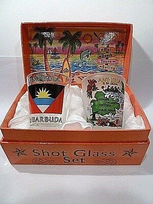 Antigua & Barbuda Beach And Surf Boxed Shot Glass Set (Set Of 2)