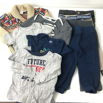 Boys Fall Winter Lot 12-18 Months 9 Piece Mixed Lot Warm Clothing Carters Janie