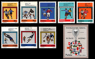 Poland 1966 Football World Cup in London     //    Set of 9 stamps
