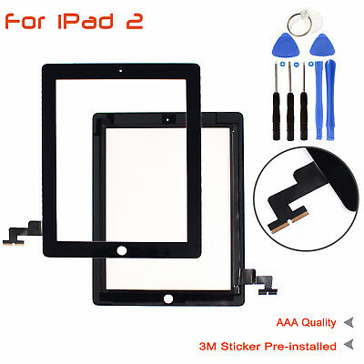 Black Touch Screen Glass Digitizer+Home Button Adhesive for iPad 2 A1395 - A1397