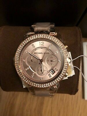 Michael Kors Ladies Parker Chronograph Watch Mk5896 Rose Gold & Blush & Crystals