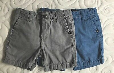 Lot of 2 Quiksilver Toddler Boys Shorts (1 gray & 1 blue) Size 18 months-2T