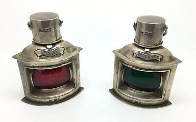 Victorian Sterling Silver Lighter & Inkwell Ship Lantern Lamps 1897