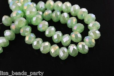 200pcs 3x2mm Faceted Rondelle Crystal Glass Loose Spacer Beads Jade Lt Green AB