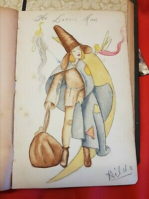 Old autograph book with folk art water colour of The Dream Man