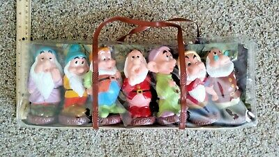 "Disney Vintage Set Of 7 Dwarfs Rubber Dolls Toys 5.5"" Snow White Seven Bath Toys"