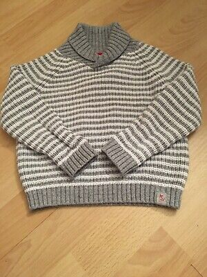 The Little White Company Boys White And Grey Striped Jumper 18 - 24 Months