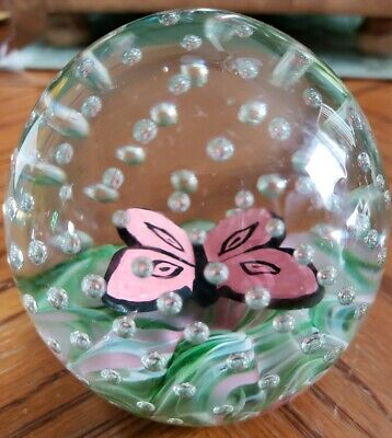 Rare JOE ST CLAIR Paperweight BUTTERFLY Sulphide Green Pink White SWIRL