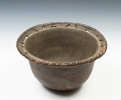 Authentic Mississippian Bowl with Mace Effigy Cutouts