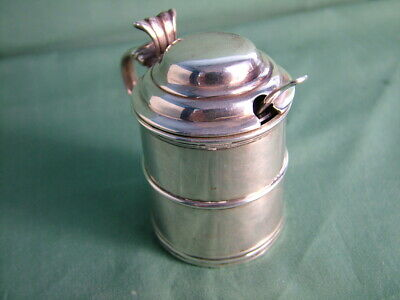 Antique solid silver mustard pot and spoon Sheffield 1896 HA