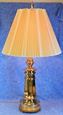"Vtg REMBRANDT Brass 32"" Pineapple Table Lamp w/ Orig. Pleated Linen Shade- EUC"