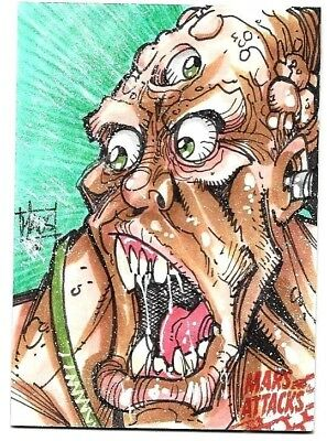 Mars Attacks Occupation Topps  Hand Drawn Sketch Card  1/1 Bill Maus