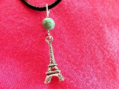 EIFFEL TOWER NECKLACE Paris France TURQUOISE Boho NEW HANDMADE Ships FREE to USA
