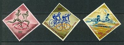 Guinea Republic 1964 Olympic Games overprinted set of stamps Mint. Sg439-441