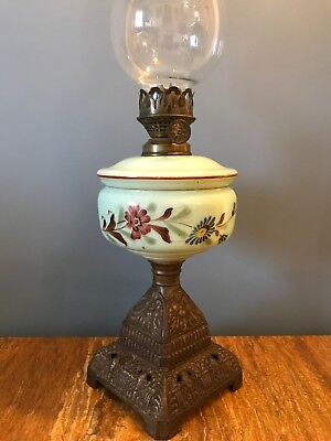 Antique Hand Painted Opaline Oil Lamp Cast Iron Base