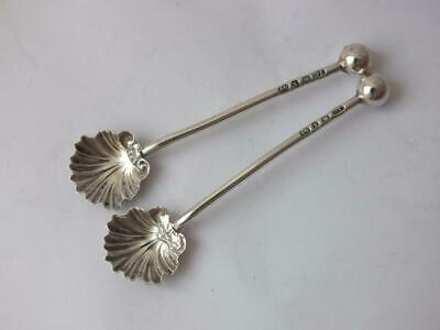 Dainty Pair of Antique Victorian Solid Silver Shell Bowl Salt Spoons 1897/ 6 cm