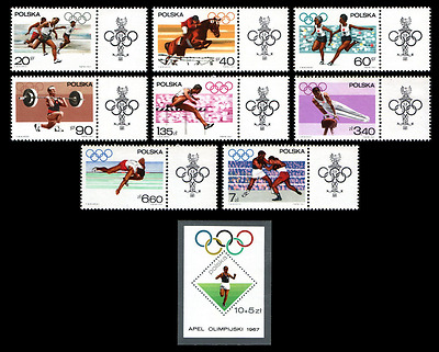 Poland 1967 : Olympic appeal     //   Set of 9 stamps