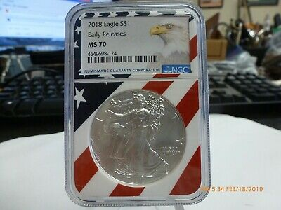 2018 NGC MS 70 Early Releases American Silver Eagle Flag Label