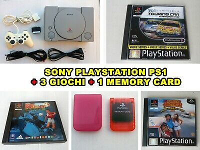 Playstation 1 Console Sony Ps1 Pal Scph-7502 + 3 Giochi + Memory Card Originale
