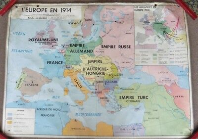 Vintage Double Sided French School Map, Europe 1918-1923 And 1914.Editions MDI