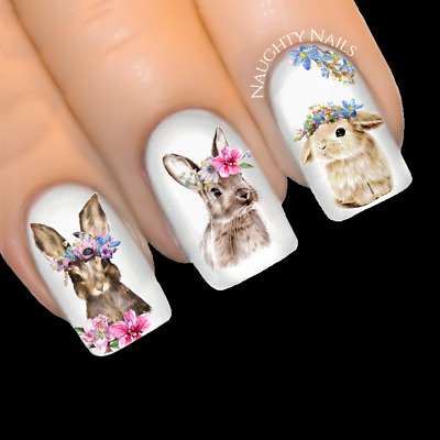 FLORAL DREAM BUNNY Easter Nail Water Transfer Decal Sticker Art Slider