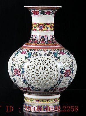 Chinese Porcelain Hand-painted Hollow Vase W Qing Dynasty QianLong Mark /CQLK08