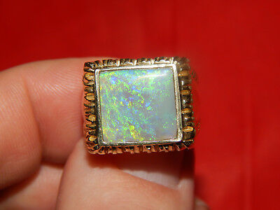 14K Yellow Gold Heavy & Large Square Opal  Ring Size 8 Sizeable  Wide Face