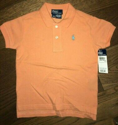 NWT POLO By Ralph Lauren Orange Short Sleeve Shirt Baby Boy 24 mo