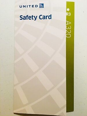 United Airlines A320 R3 Safety Card - Airbus, Collectible, Information, 2016