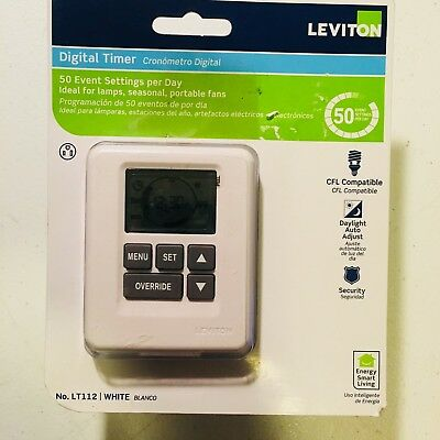 Leviton Digital Timer LT112 ~ 15A Load 50 Events Per Day DST for Lamps Fans NEW!