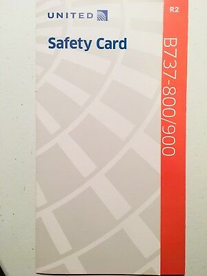 United Airlines Boeing 737 B737-800/900 R2 Safety Information Card - Collectible