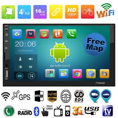 """7"""" Touch 2DIN Android 7.1 Car Stereo MP5 Player GPS FM/AM Radio B4.0 RDS+EU Map"""