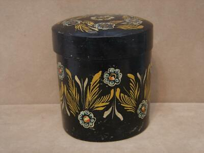 Vintage Wood Hand Painted Black Lacquer With Flowers Container Trinket