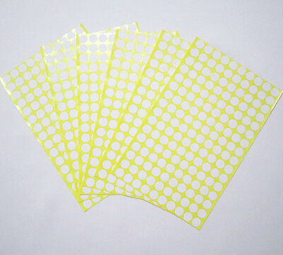 10 mm White Round Circle Color Code Dot Stickers Sticky Adhesive Labels 15 Sheet