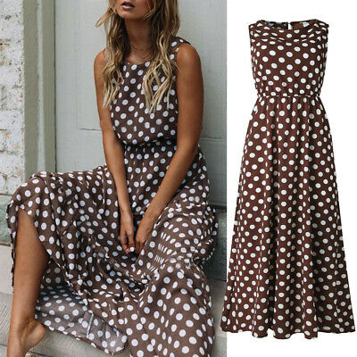 Fashion Women Dot Printing Sleeveless O Neck Long Dress Evening Party Dresses