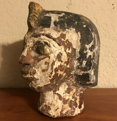Ancient Egyptian Style Mummy Head Wooden Pharaoh Tomb Old Vintage Painted