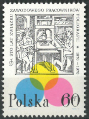 Poland 1970 : 100th anniversary of  the Printing Press Union    // 1 stamp