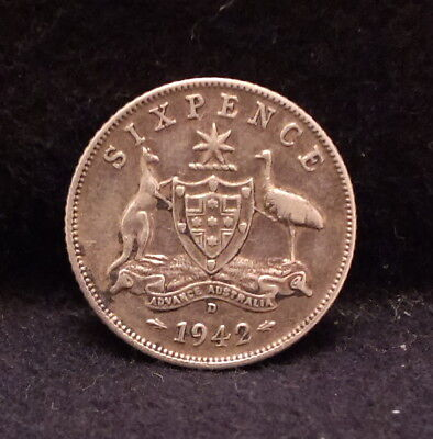1942-D Australia silver 6 pence, Denver mint, WWII issue, KM-38 (AS2)