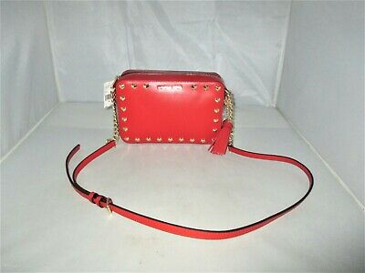 d5161085d9f0 MICHAEL KORS GINNY Heart Studded Medium Leather Camera Bag