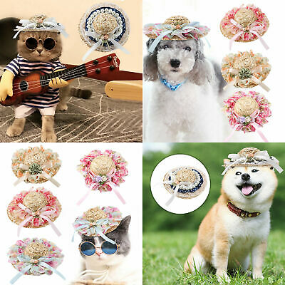 Funny Pet Hat Costume Hawaii Straw Round Cap Dog Cat Puppy Cosplay Summer