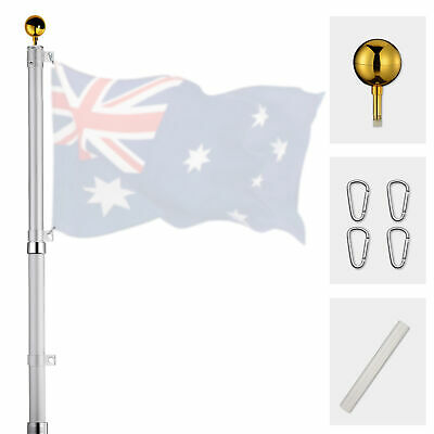 6.1M Australian Flag Pole Kit Aussie Flag Telescopic System Aluminium Pole Set