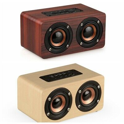 W5 Mini Wooden Dual Speakers Subwoofer Wireless Bluetooth HiFi Stereo Deep Bass