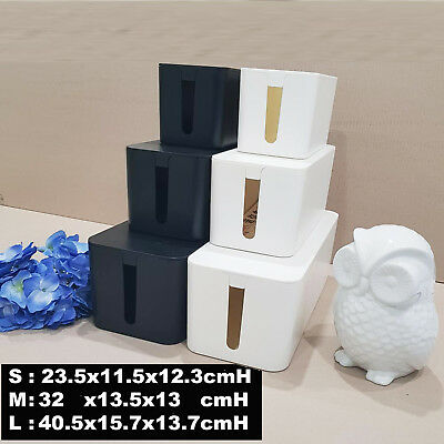 Black White Cable Storage Box Wire Cable Management Socket Safety Tidy Organizer