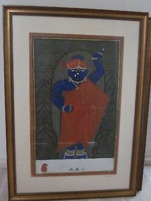 Antique Krishna painting art + Gilt highlights Shrinathji temple Nathdwara 1890