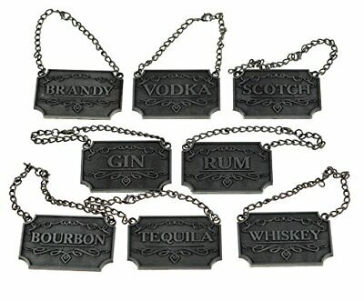 Rustic Silver Liquor Decanter Tags/Labels Set of Eight - Whiskey, Bourbon, Scotc