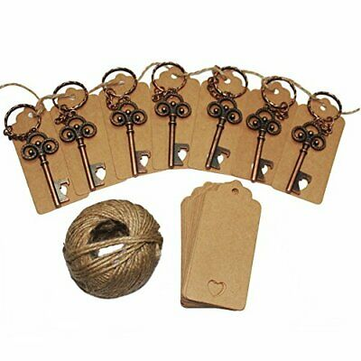 50Pcs Wedding Favors Skeleton Key Bottle Opener with 50pcs Escort Card Tag and T