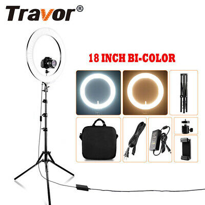 18'' LED SMD BI-COLOR Ring Light Kit With Stand Dimmable For Camera Makeup Phone